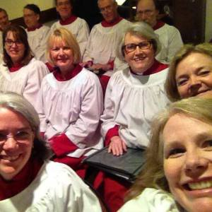 Carolyn Clement (lower right) with the Trinity Episcopal Church, Tariffville, CT Choir.